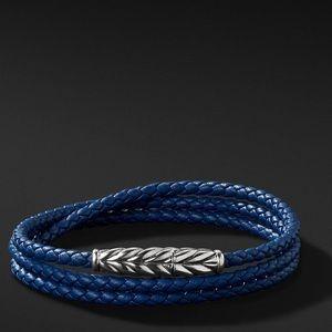 David Yurman chevron triple wrap bracelet in blue
